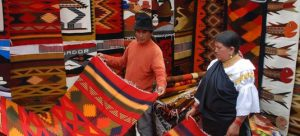 Shopping for tapestries at Otavalo Market