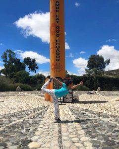 Paula Pant on the equator, Ecuador