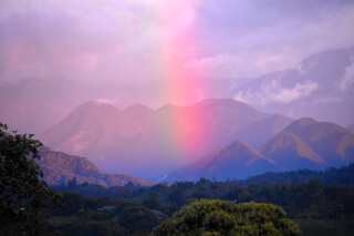 Sunset rainbow over Nanegalito, Ecuador